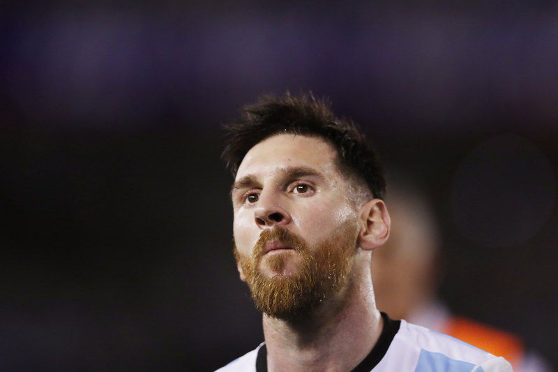 Argentina vs. Chile • epa05866963 Argentina's player Lionel Messi reacts during a Russia 2018 World Cup qualifying match between Argentina and Chile in Buenos Aires, Argentina, 23 March 2017.  EPA/DAVID FERNANDEZ • Lusa