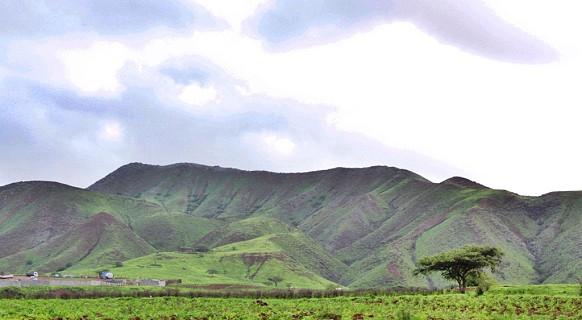 A paisagem verde atrai o olhar dos turistas.