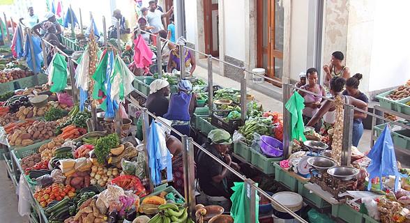 Balcões de produtos no mercado de Plateau