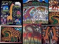 "Girafas pintadas no estilo ""Tinga Tinga"""