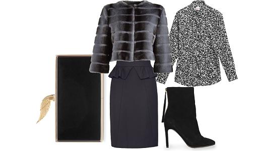 Saia Sacoor, camisa Lacoste, casaco Guess by Marciano, botas Mango e clutch Zara.