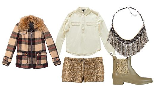 Calções Guess Jeans, camisa Gant, casaco Lanidor, colar Lanidor e botas Lemon Jelly.