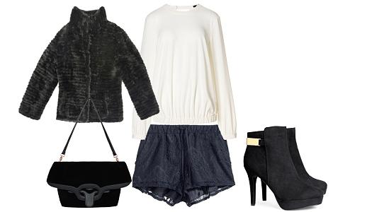 Calções H&M, camisa Sisley, casaco Cortefiel, sapatos H&M e mala Repetto.