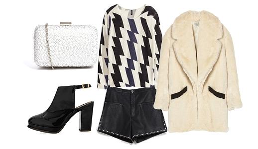 Calções Zara, camisola H&M, casaco Hoss, sapatos Topshop e clutch Asos.