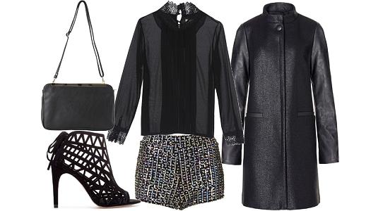 Calções Topshop, camisa Molly Bracken, casaco Sisley, sapatos Zara e mala Mo.