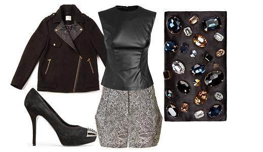 Calções Benetton, top Extart & Panno, casaco Springfield Woman, sapatos Mango e clutch Carolina Herrera.