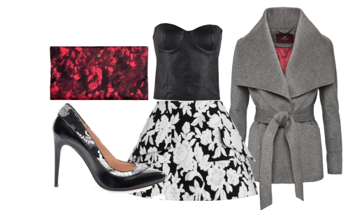 Saia Extart & Panno, top Guess Jeans, casaco Sacoor, sapatos Pinko e clutch Carolina Herrera.