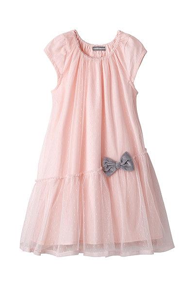 Não vais passar despercebida com este vestido cor-de-rosa. Vestido Vertbaudet.