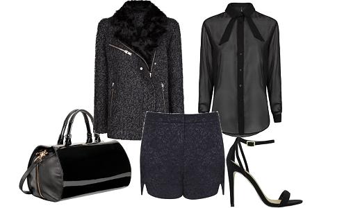 Calções Topshop, camisa e casaco Mango, sandálias Asos e mala Furla.