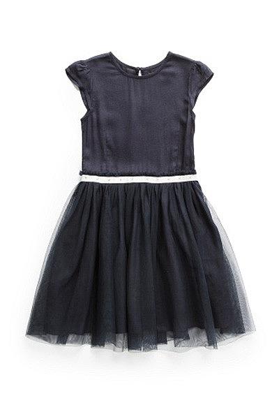 Vais ficar super gira neste vestido preto de tule. Vestido Mango.