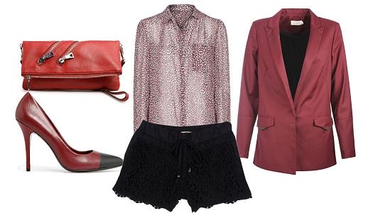 Calções Molly Bracken, camisa Mango, casaco Eleven Paris e sapatos e clutch Mango.