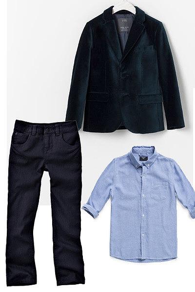 Com este look estás preparado para te divertires na festa e super giro. Casaco Zara, Calças Vertbaudet, Camisa Mango.