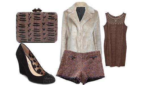 Calções Lavand, top Cantão, casaco Primark, sapatos Jessica Simpson e clutch Hoss.