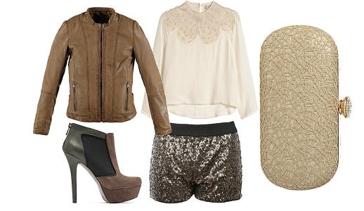 Calções Primark, camisa H&M, casaco Salsa, sapatos Jessica Simpson e clutch Lanidor.