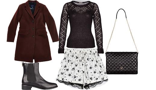 Calções Zara, camisola Jumbo, casaco Gant, botas Purificación Garcia e mala Carolina Herrera.