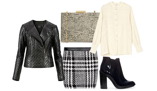 Saia Mango, blusa Hoss, blusão C&A, botins Zara e clutch Asos.
