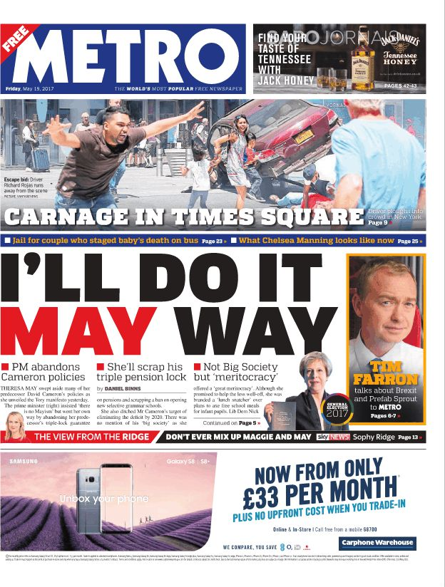 Capa do Jornal Metro London