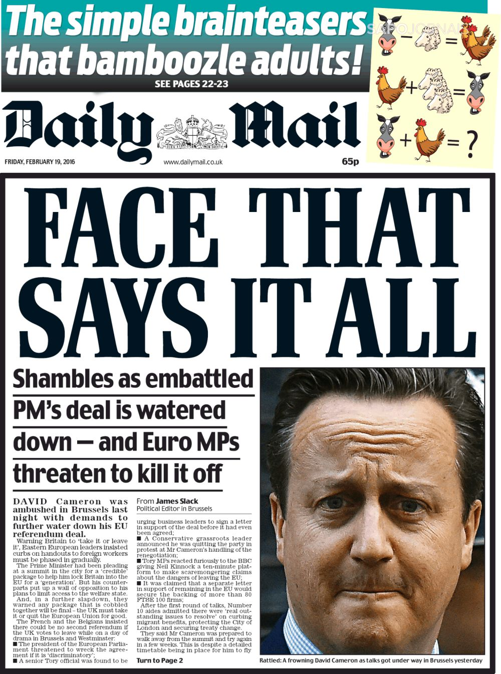 Capa do Jornal The Daily Mail
