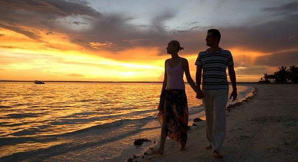 Romantic sunset walk