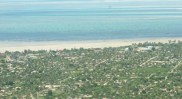 Voo da ilha de Bazaruto a Vilankulos.