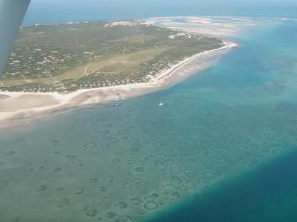 Vista aérea do Arquipélago de Bazaruto
