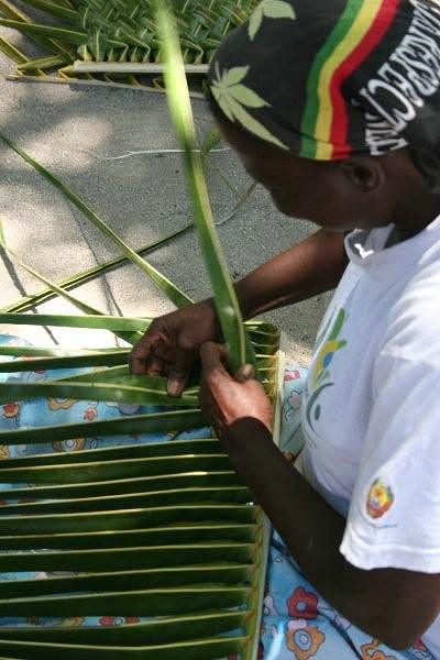 Folha de palmeira utlizada para fazer os telhados