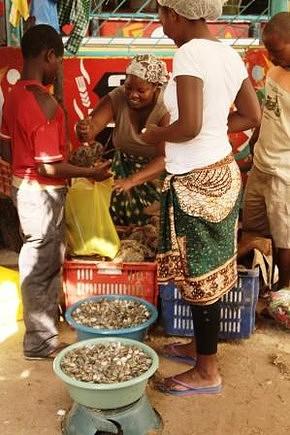 Mercado do Peixe. Situado na Av. da Marginal perto do Clube Marítimo, em Maputo. Aqui pode-se comprar peixe e marisco muito frescos.
