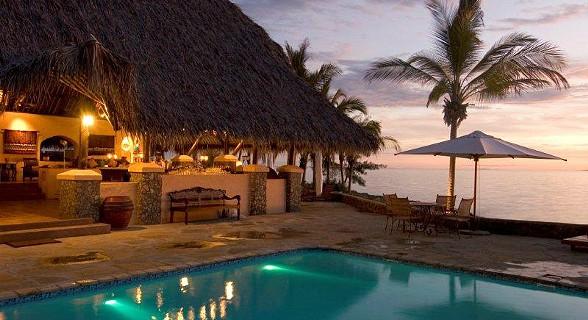 Bar and pool sunset