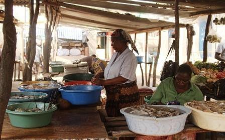 Mercado do Peixe. Vendedeira a preparar o camarão.
