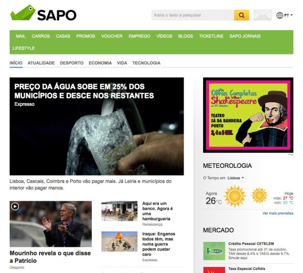 SAPO Homepage Oct 2014
